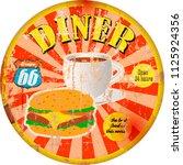 retro american diner sign ... | Shutterstock .eps vector #1125924356