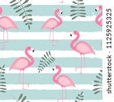 cute seamless flamingo pattern  ... | Shutterstock . vector #1125925325