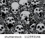 vector skulls and roses collage ... | Shutterstock .eps vector #112593146
