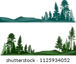illustration with high pines... | Shutterstock .eps vector #1125934052