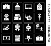 set of 16 icons such as book...
