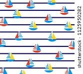 sailboats on marine stripes....   Shutterstock .eps vector #1125950282