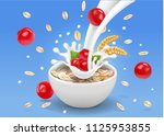 oatmeal flakes with milk and... | Shutterstock .eps vector #1125953855