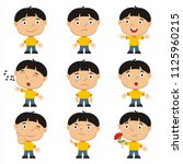 set of emoticons of funny boy... | Shutterstock .eps vector #1125960215