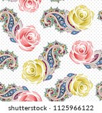 flower and paisley pattern on... | Shutterstock .eps vector #1125966122