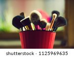 tools for makeup. brush for...   Shutterstock . vector #1125969635