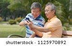 senior old male friends...   Shutterstock . vector #1125970892