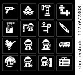 set of 16 icons such as stapler ...