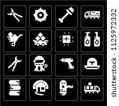 set of 16 icons such as welder  ...