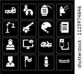 set of 16 icons such as rank ...