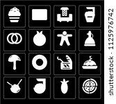 set of 16 icons such as pizza ...