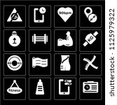 set of 16 icons such as records ...