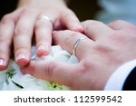 hands with wedding ring | Shutterstock . vector #112599542