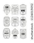alcohol labels set  gin  lager  ... | Shutterstock .eps vector #1126015052