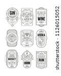 alcohol labels set  gin  lager  ... | Shutterstock .eps vector #1126015052