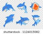 flat vector set of big blue... | Shutterstock .eps vector #1126015082