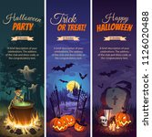 Stock vector halloween banners with text and characters pumpkins bats ghosts and skeletons on the night 1126020488