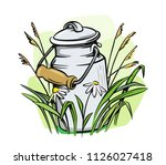 milk cans with grass country... | Shutterstock .eps vector #1126027418