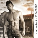 sepia toned portrait of a hunky ... | Shutterstock . vector #112603286