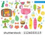 big set of vector tropical... | Shutterstock .eps vector #1126033115