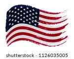 grunge flag of usa.vector... | Shutterstock .eps vector #1126035005