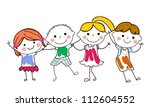 group of kids playing | Shutterstock .eps vector #112604552
