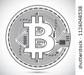bitcoin coin lined icon | Shutterstock .eps vector #1126048538