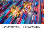 container ship in export and... | Shutterstock . vector #1126050302