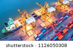 container ship in export and... | Shutterstock . vector #1126050308