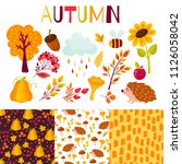 seamless pattern autumn | Shutterstock .eps vector #1126058042