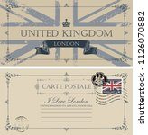 retro postcard with uk flag and ... | Shutterstock .eps vector #1126070882