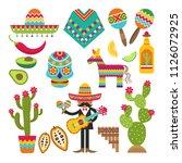 mexican symbols. vector design... | Shutterstock .eps vector #1126072925