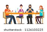 friends eating snacks. friendly ... | Shutterstock .eps vector #1126103225