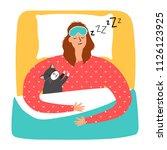 woman and cat sleeping  vector... | Shutterstock .eps vector #1126123925