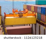 containers are discharging from ...   Shutterstock . vector #1126125218
