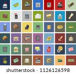 vector piggy banking icons set  ... | Shutterstock .eps vector #1126126598