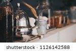 coffee drip set. fresh coffee... | Shutterstock . vector #1126142588