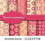 set of vector flower paper for... | Shutterstock .eps vector #112615748
