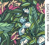 vector floral seamless pattern... | Shutterstock .eps vector #1126171472