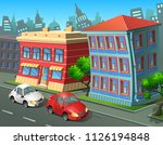 a city with stone houses and... | Shutterstock .eps vector #1126194848