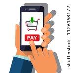 human hand holding mobile phone ...   Shutterstock .eps vector #1126198172
