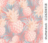 pineapples on the background of ... | Shutterstock .eps vector #1126206518