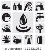 vector black water icons set on ... | Shutterstock .eps vector #112621052