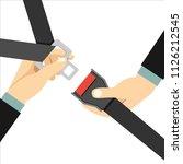 hands locking seat belt | Shutterstock .eps vector #1126212545