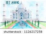 watercolor illustration taj... | Shutterstock . vector #1126217258
