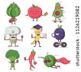 quirky fruit and vegetable... | Shutterstock .eps vector #1126219082