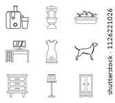 residence icons set. outline...   Shutterstock . vector #1126221026