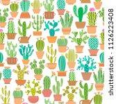 cactus in pot vector seamless... | Shutterstock .eps vector #1126223408