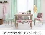 decorative dining table and... | Shutterstock . vector #1126224182