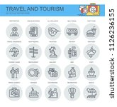 travel and tourism. set of flat ... | Shutterstock .eps vector #1126236155